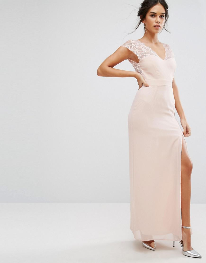 b25d9448f Elise Ryan Maxi Dress With Eyelash Lace Sleeve And V Back in Pink - Lyst