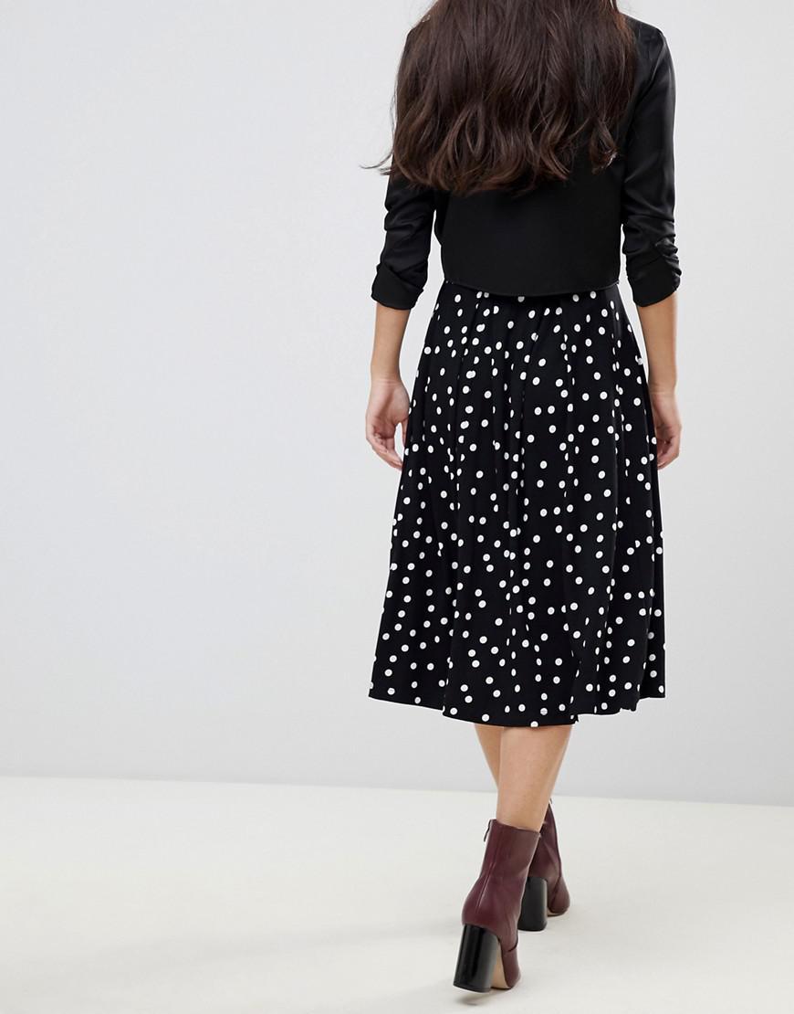 9e49fe08f7 ASOS Asos Design Petite Midi Skirt With Box Pleat In Polka Dot Print in  Black - Lyst