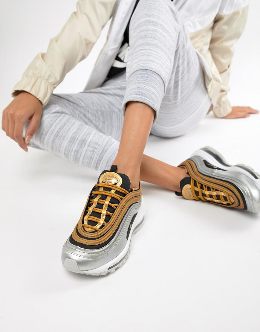 the best attitude a9db1 15396 Nike. Women s Black And Gold Metallic Air Max 97 Trainers