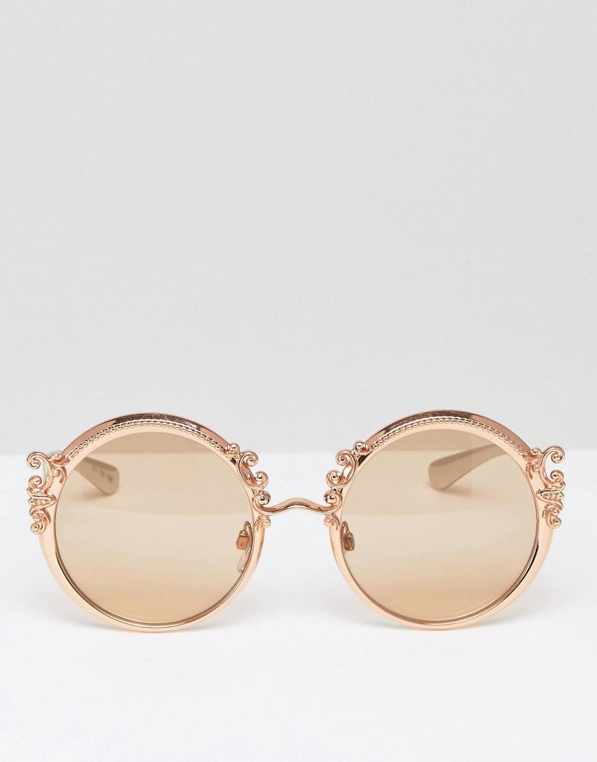 801c72972c10 Lyst - Dolce   Gabbana Round Sunglasses With Baroque Detail In Gold in  Metallic for Men