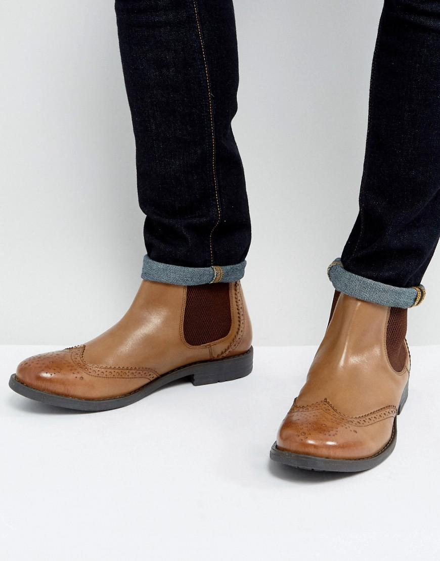 d314c87cd626 Frank Wright Brogue Chelsea Boots Tan Leather in Black for Men - Lyst