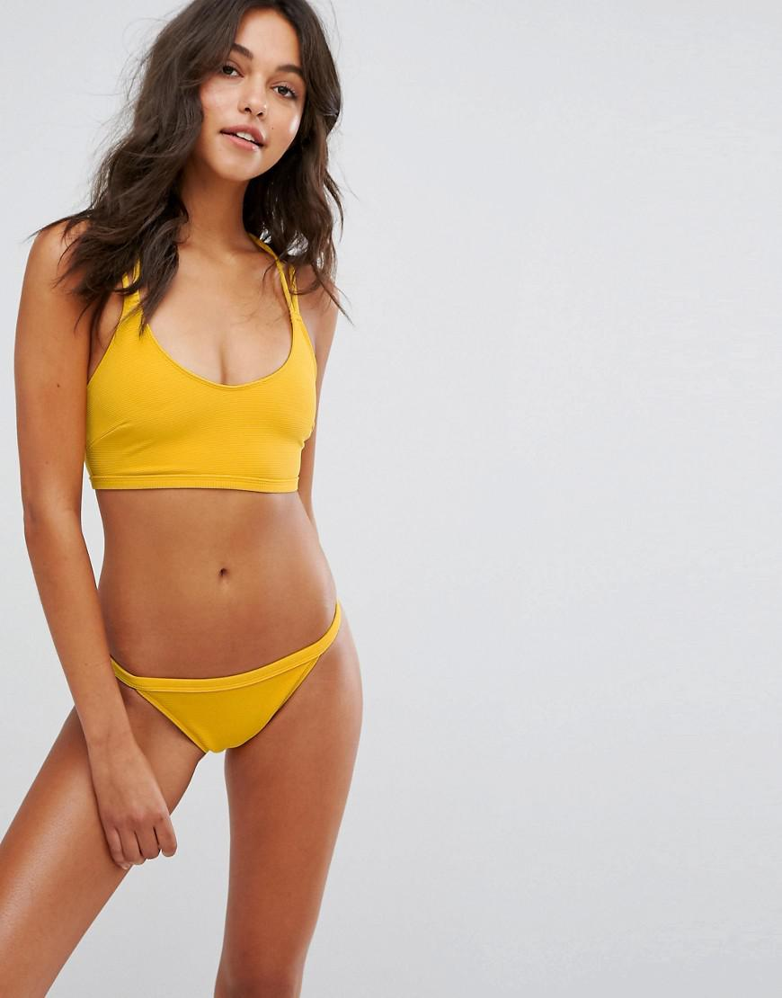 1d587b6efe Wolf & Whistle Strappy Ribbed Crop Bikini Top in Yellow - Lyst