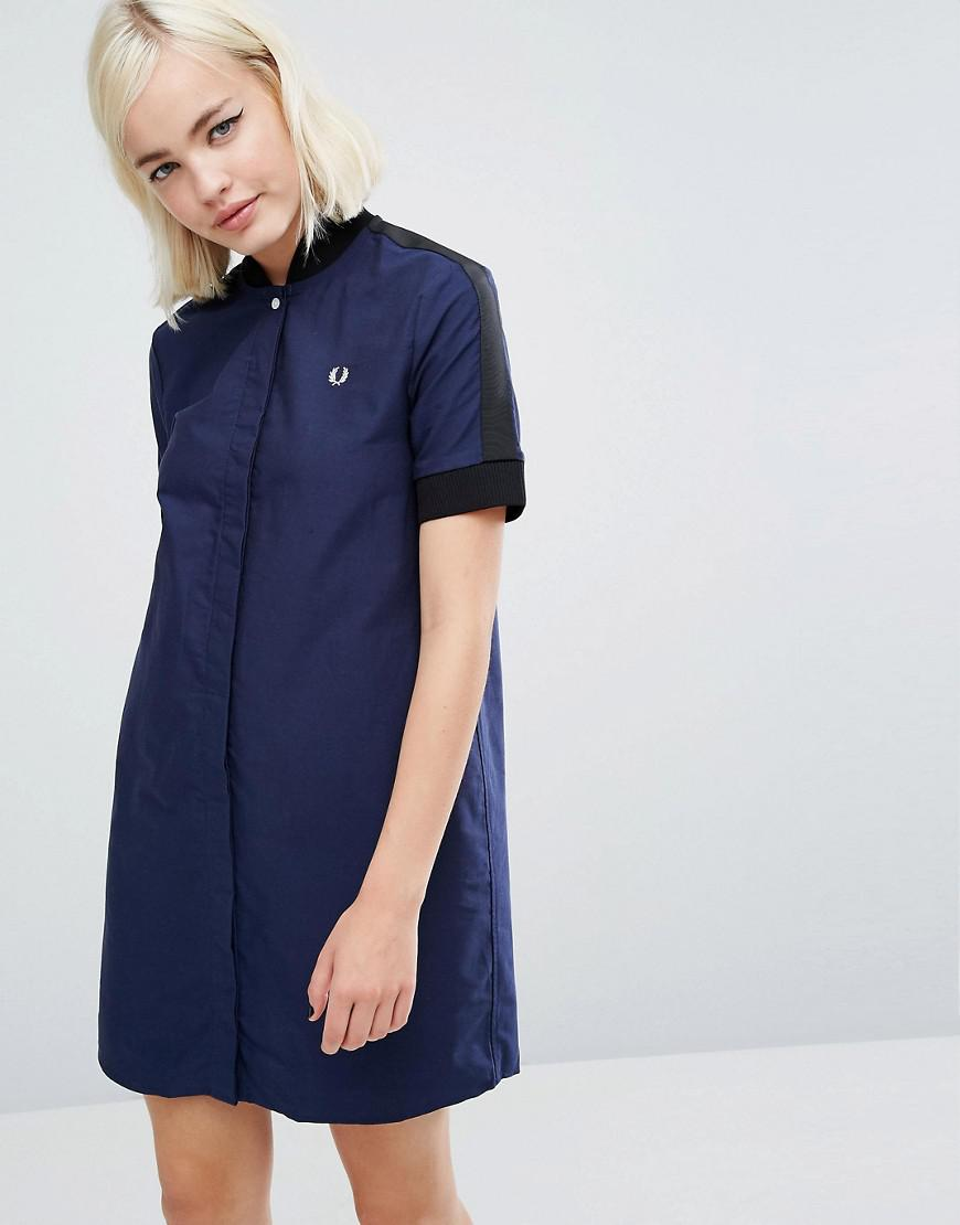 1c917e4f29793 Fred Perry Bomber Dress in Blue - Lyst
