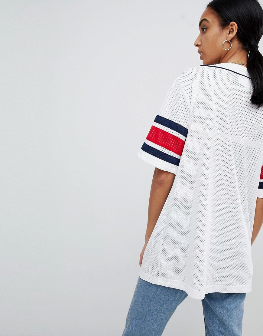 12f9d70f3be Fila Oversized Baseball Jersey In Mesh in White - Lyst