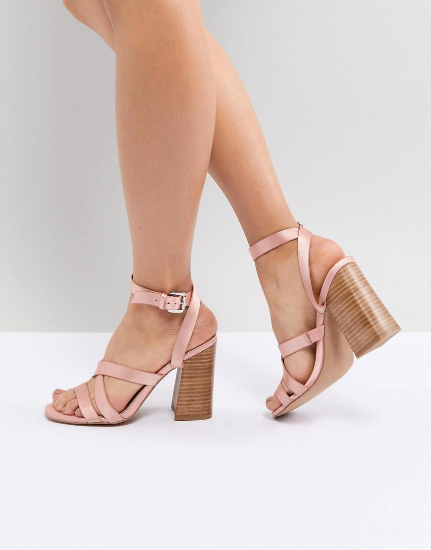 8707887dda97 Lyst - Asos Tilbury Satin Block Heel Sandals in Pink