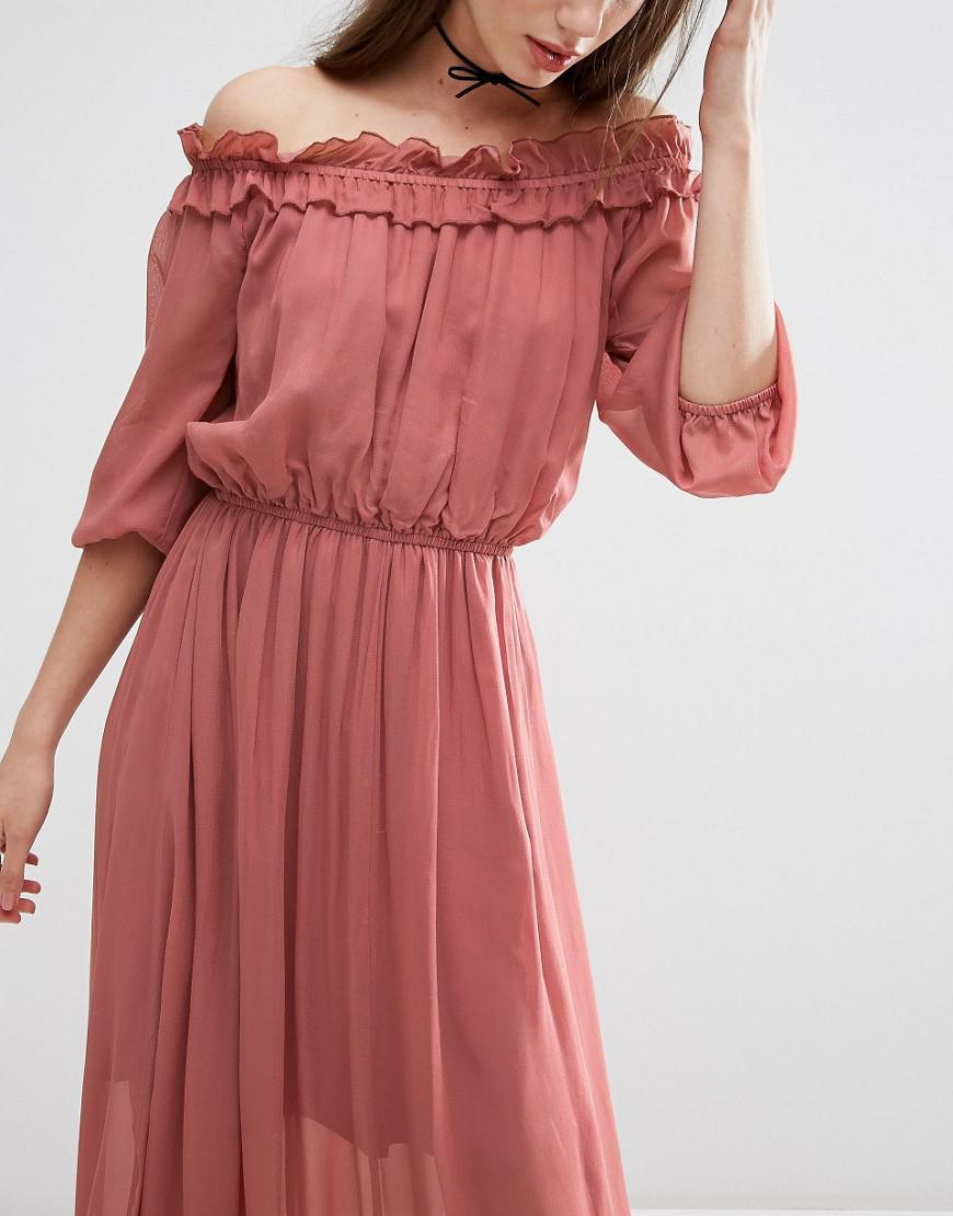 6f02abdb4f6 Lyst - ASOS Off Shoulder Maxi Dress With Frill Tiers in Red