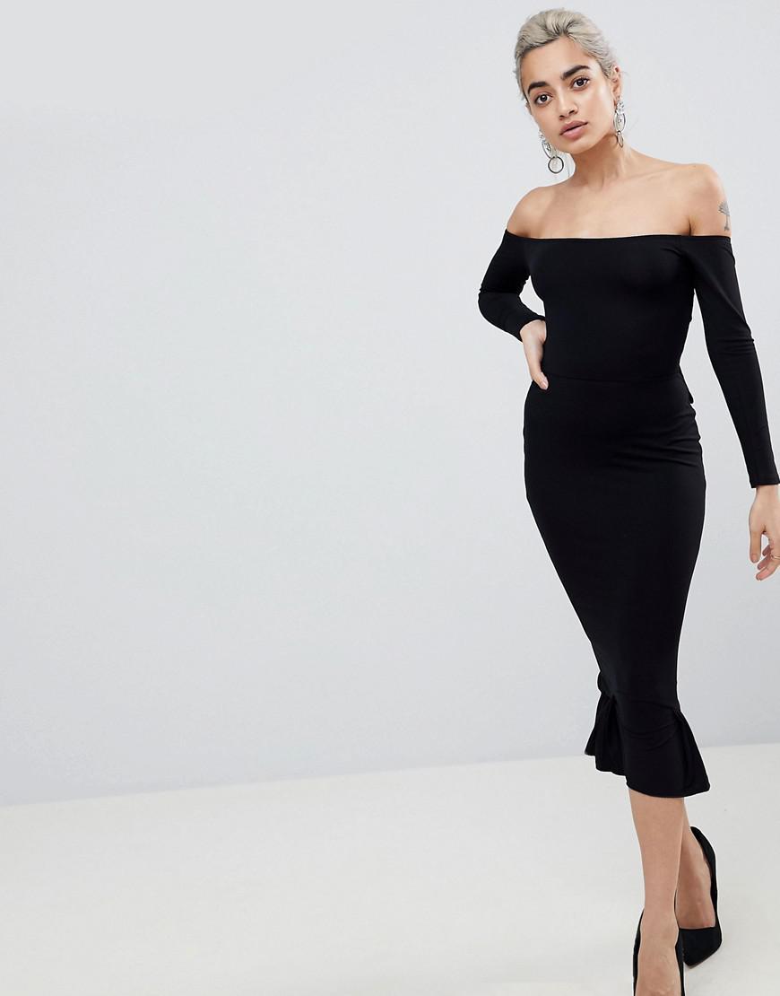 893b7fef84a9 Lyst - ASOS Bardot Bow Back Pephem Midi Dress in Black