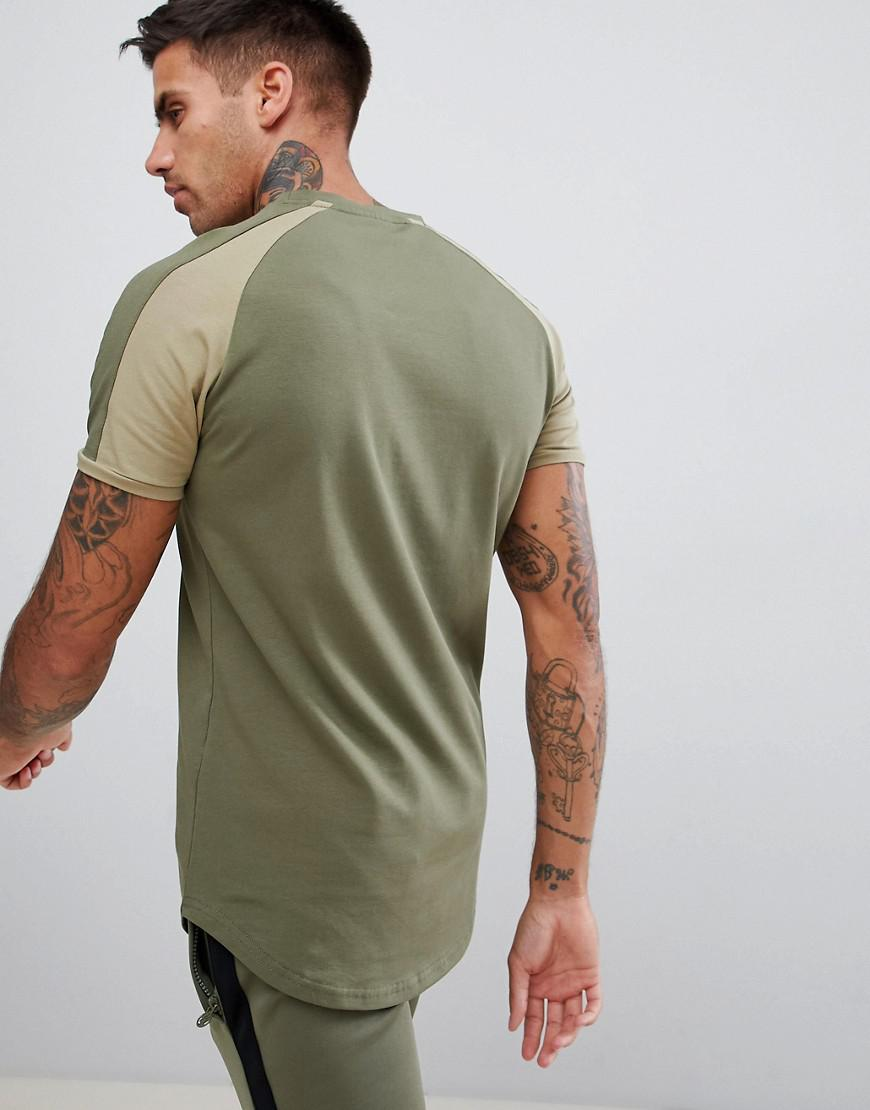 3fc40296 Lyst - Gym King Muscle Logo T-shirt In Khaki With Contrast Sleeves ...
