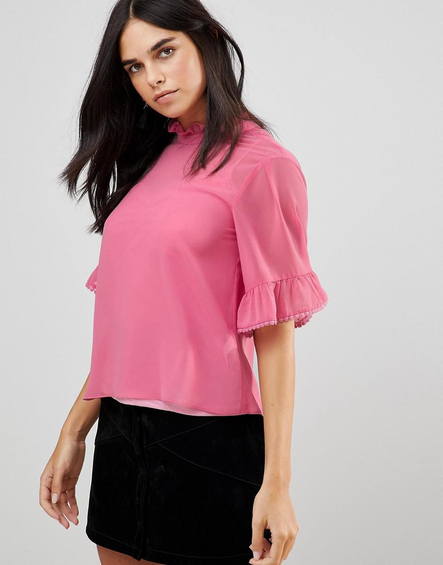 3/4 Sleeve Flute Sleeve Top With Ruffle Detail - Pink Traffic People Inexpensive Cheap Price Buy Cheap For Cheap Buy Cheap Footlocker VhCwUTx