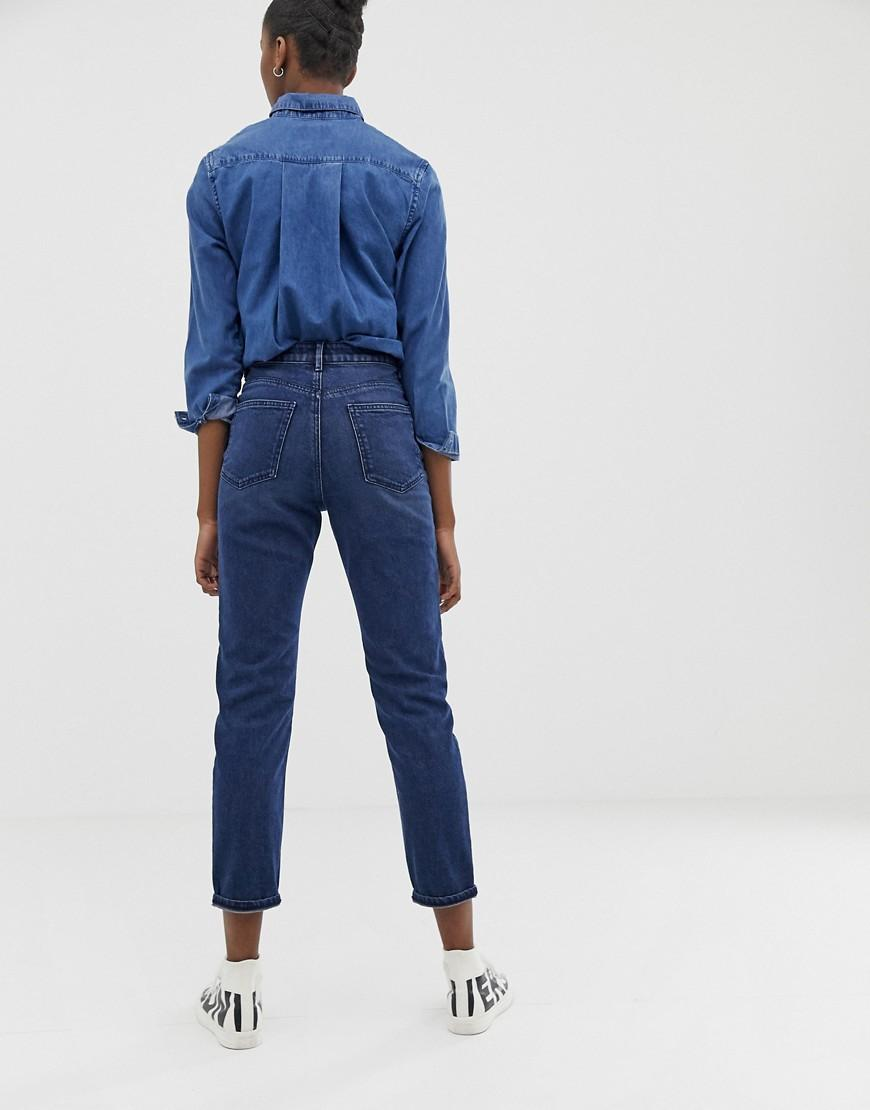 a22c1db00b Lyst - ASOS Recycled Farleigh High Waist Slim Mom Jeans In Dark Wash Blue  With Front Patch Pocket Detail in Blue