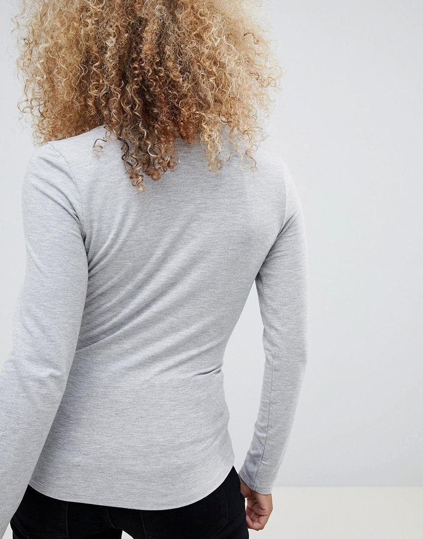 cd75835bd19c70 Lyst - Asos Asos Design Petite Ultimate Top With Long Sleeve And V-neck In  Gray in Gray