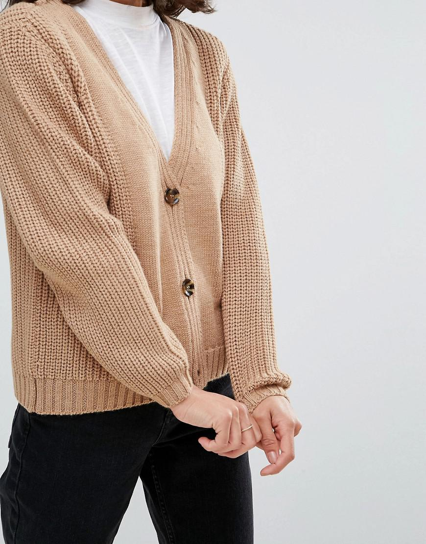 Asos Ultimate Chunky Knit Cardigan With Button   Lyst