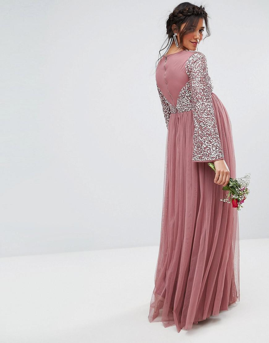 030df9f74400e Maya Tall Long Sleeve Maxi Dress With Delicate Sequin And Tulle Skirt
