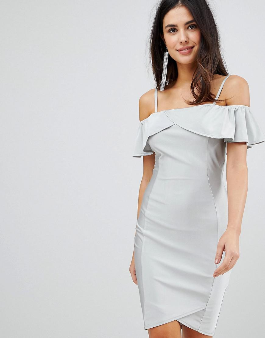AX Paris Midi Dress With Overlay in Metallic - Lyst 35930ab68