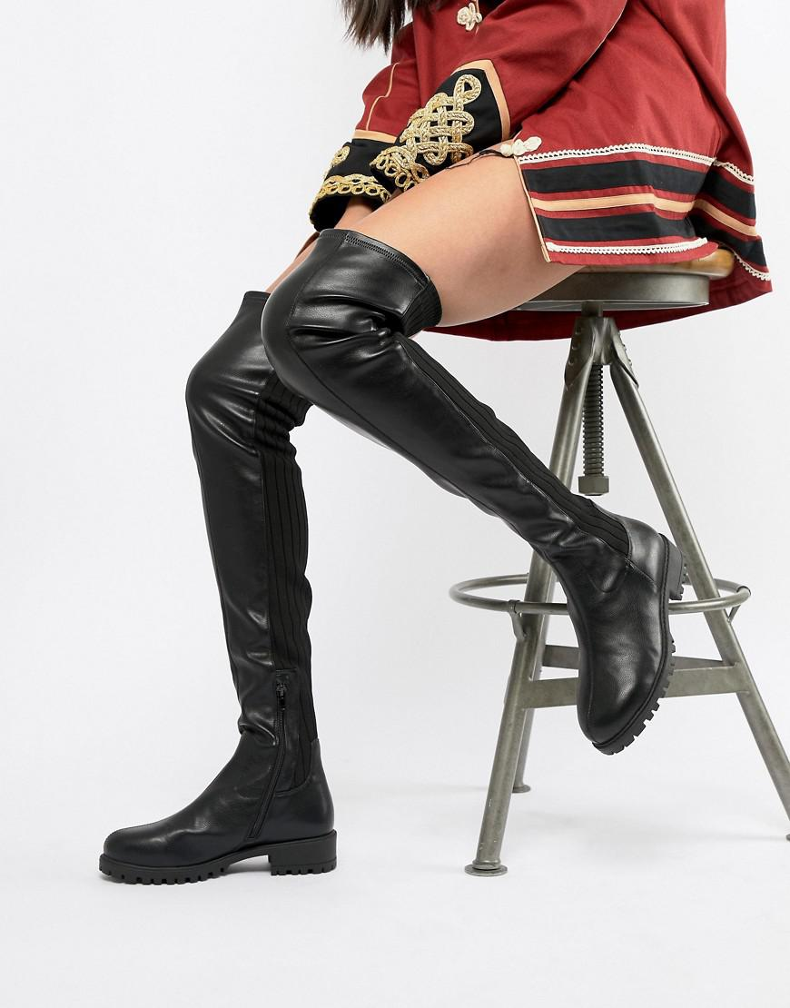 88a0225c418 Lyst - ASOS Krista Chunky Thigh High Boots in Black