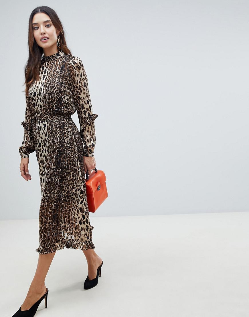 Lyst - Y.A.S Animal Print Highneck Maxi Dress 8604f069f
