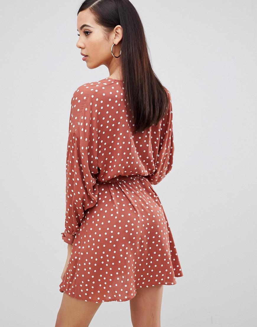 94fb434668 Lyst - Asos Asos Design Tall Casual Skater Mini Dress In Spot Print in Red