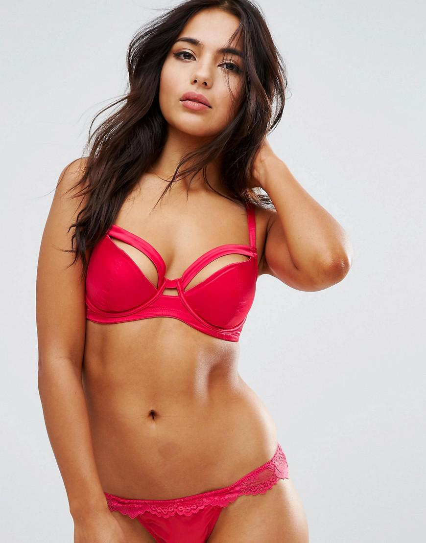 9358b530e6 ASOS Fuller Bust Monroe Satin Caged Moulded Underwire Bra in Red - Lyst