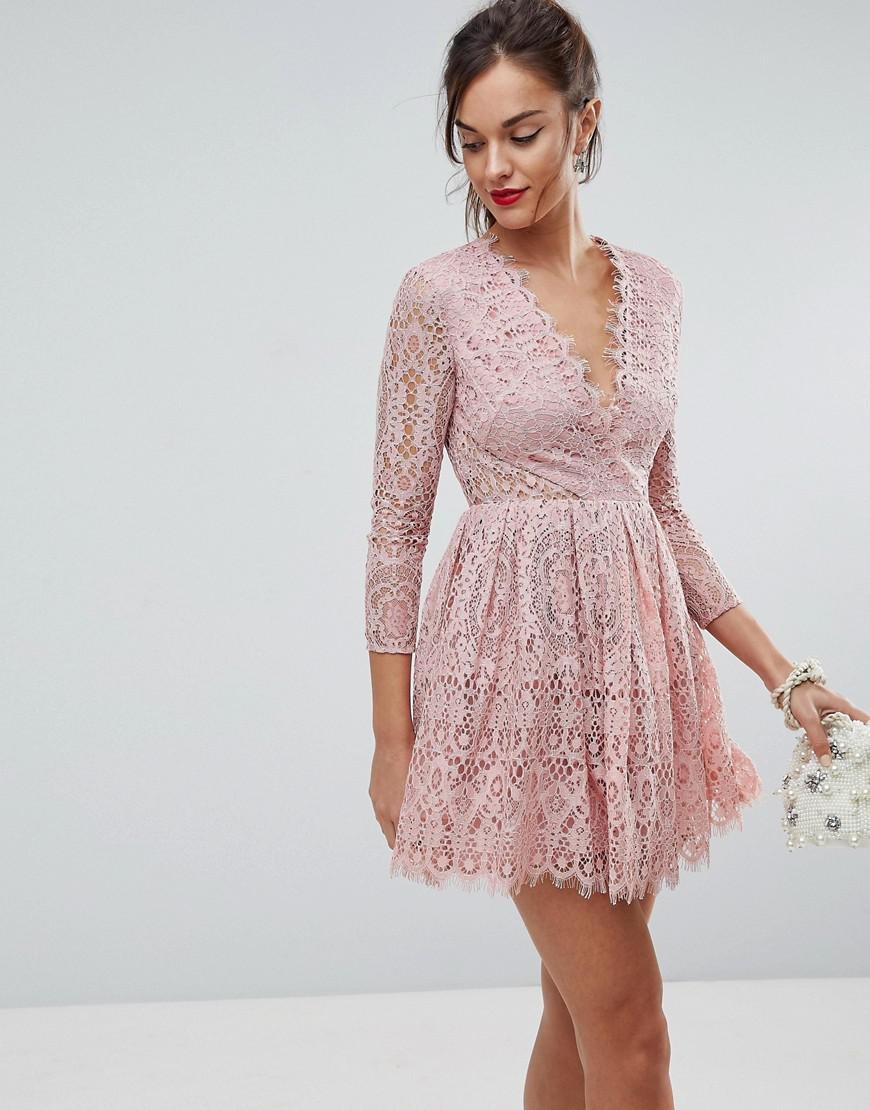 lyst asos long sleeve lace mini prom dress in pink. Black Bedroom Furniture Sets. Home Design Ideas