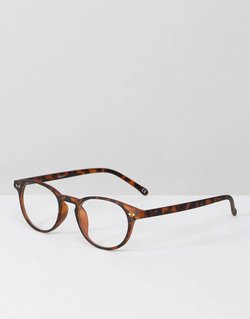 4dbeb15313 Lyst - Asos Round Clear Lens In Tort With Blue Shield Filter in ...