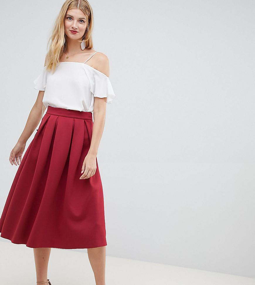 892a050946b22c ASOS Asos Design Tall Scuba Midi Prom Skirt in Red - Lyst