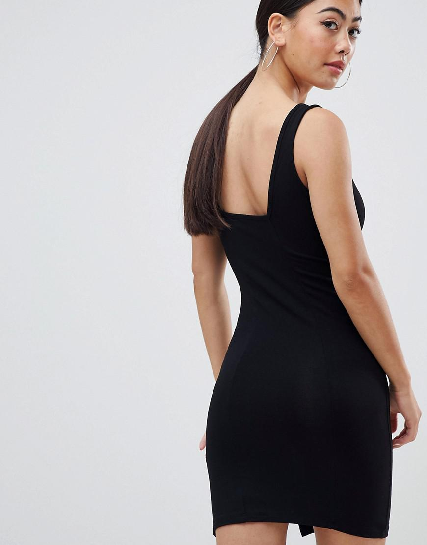 5ed2565d14e ASOS Asos Design Petite Square Neck Mini Bodycon Dress in Black - Lyst