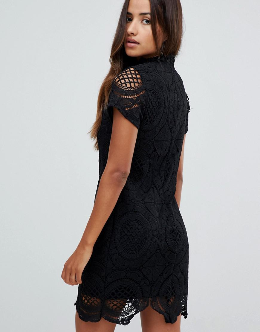 83d229b43 Girl In Mind Lace High Neck Short Sleeve Mini Dress in Black - Lyst