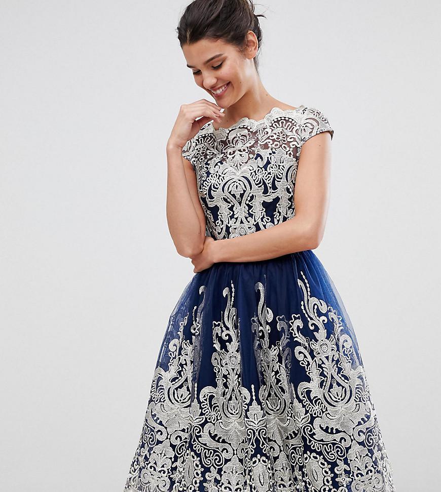 Chi Chi London. Women s Blue Premium Metallic Lace Midi Prom Dress With Bardot  Neck 492acc6e98