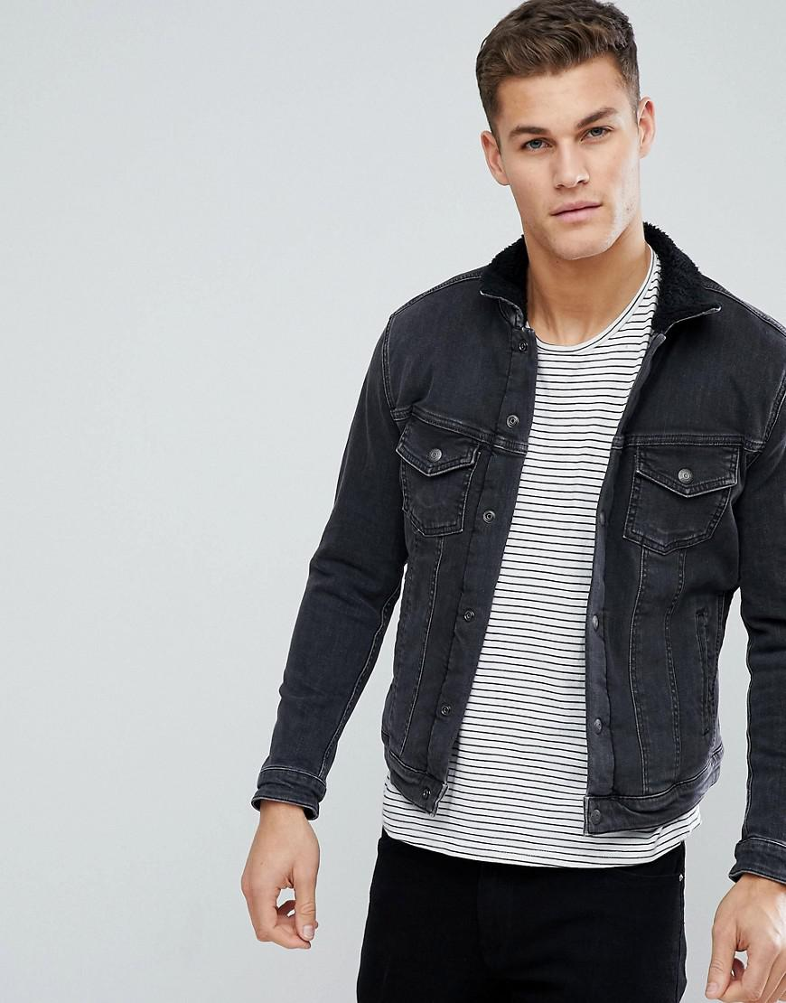 jack jones intelligence denim jacket with full borg. Black Bedroom Furniture Sets. Home Design Ideas