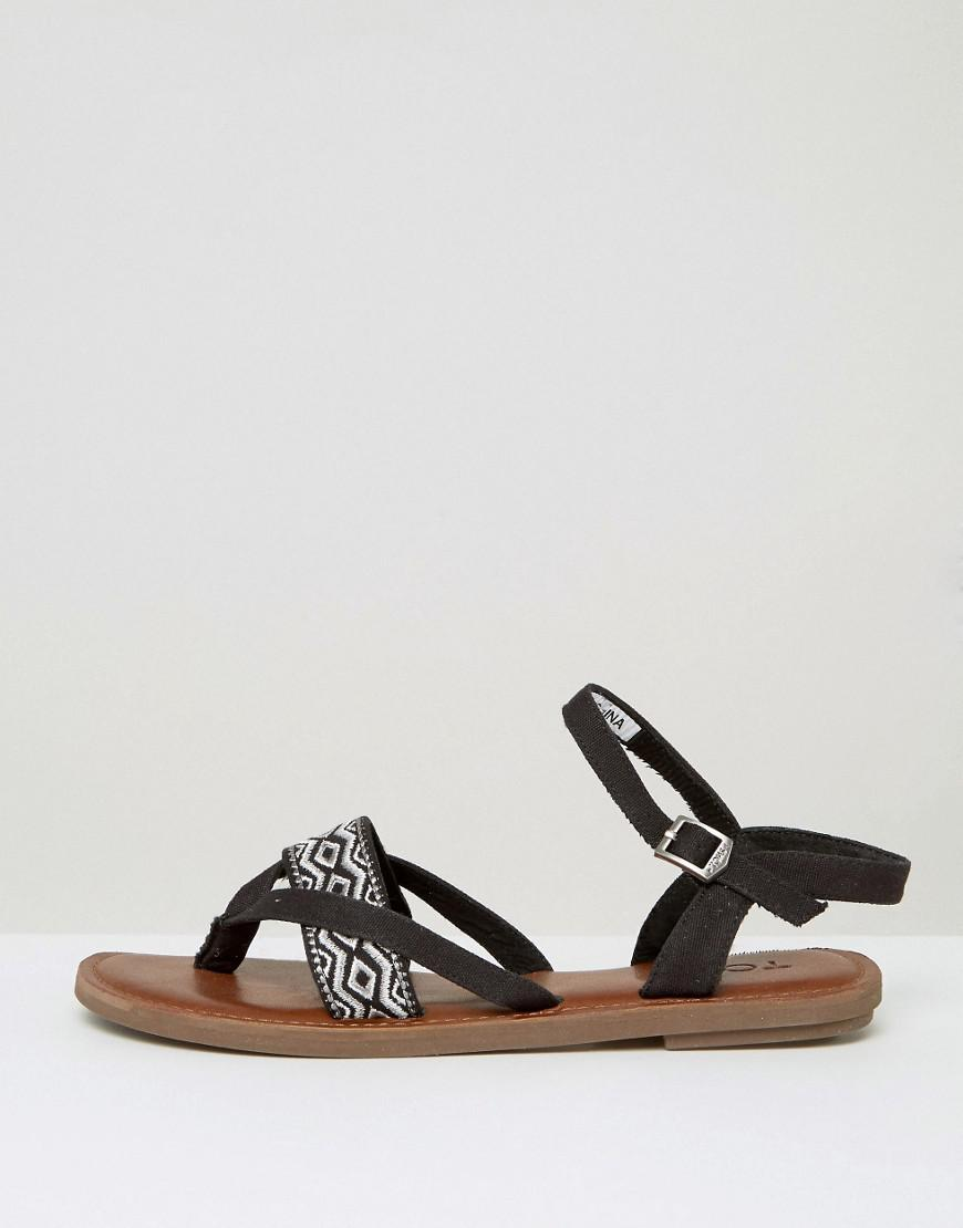 0d5ed7cc777 TOMS Lexie Black Embroidered Flat Sandals in Black - Lyst
