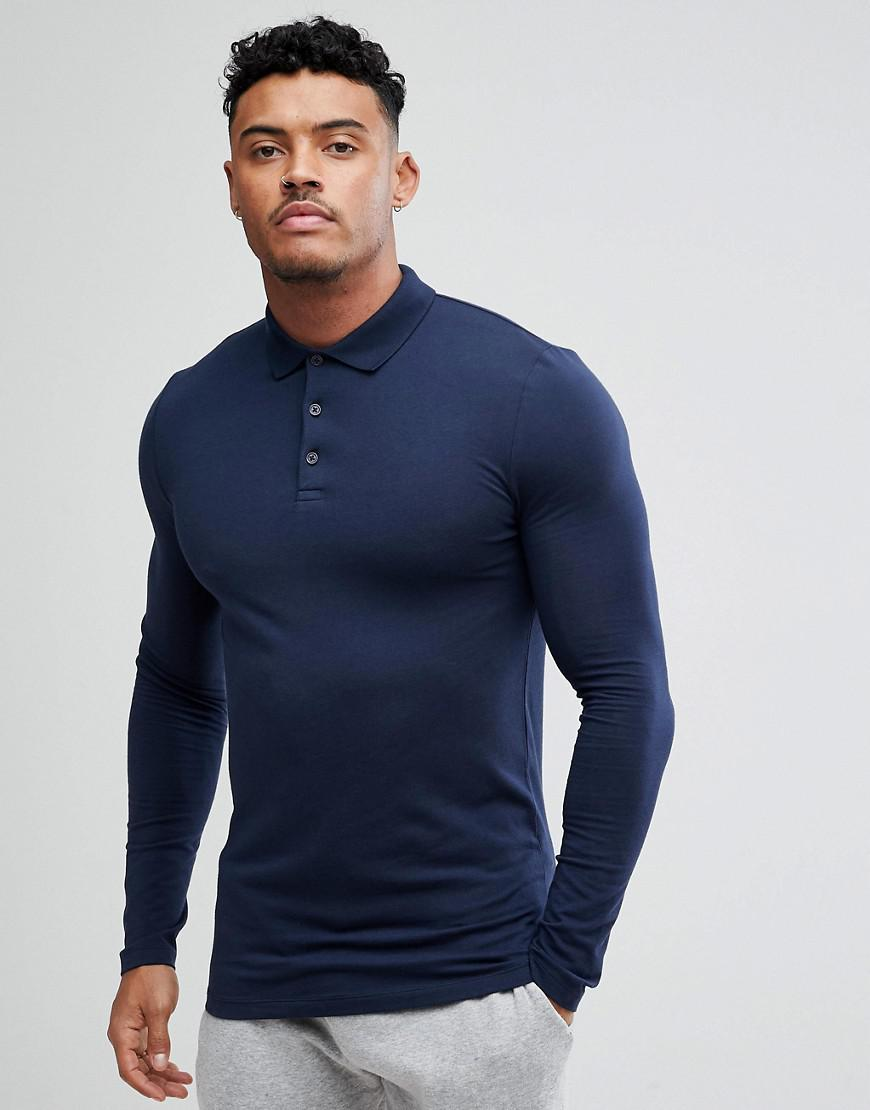 8ac819b5 Lyst - ASOS Long Sleeve Muscle Fit Polo In Navy in Blue for Men