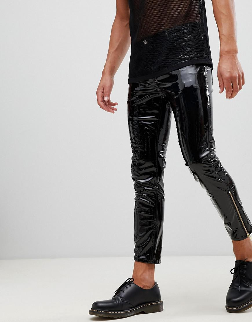 3006e61016 ASOS 'stefan' Skinny Jeans In Black Vinyl With Zip Hem in Black for ...