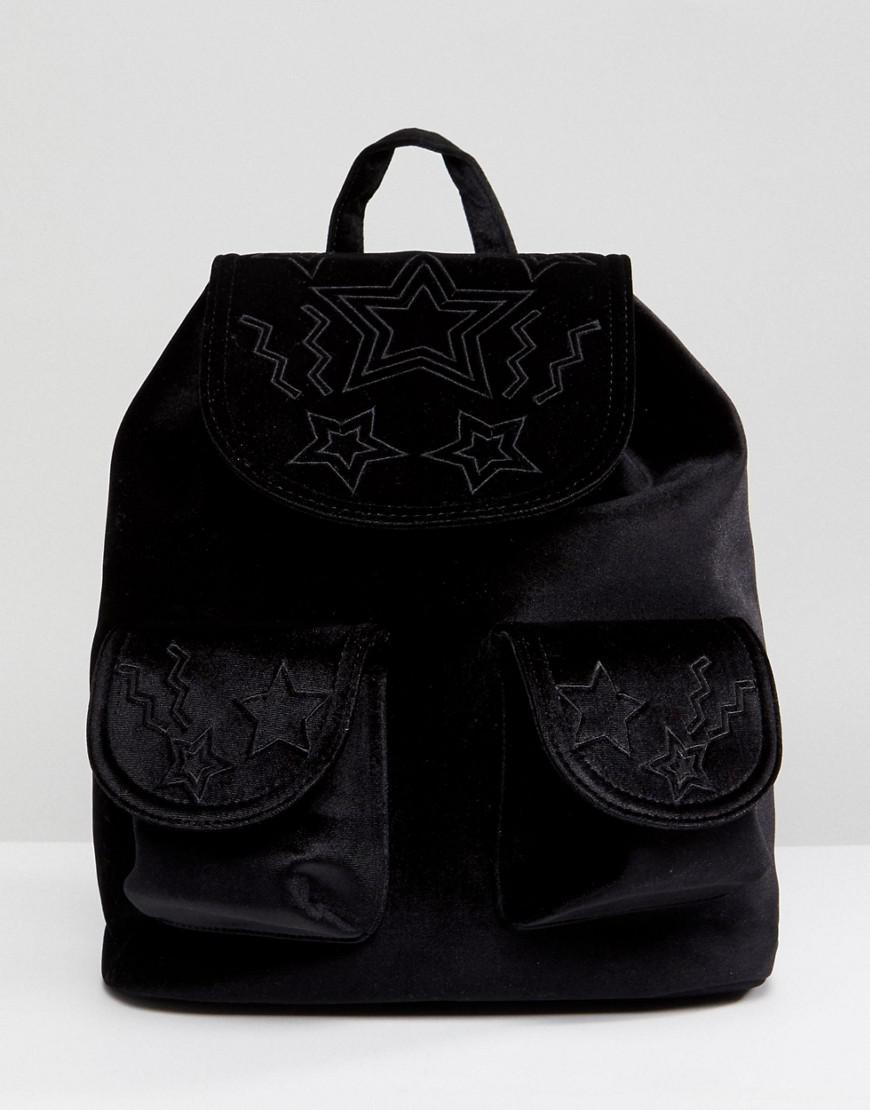 Star Embossed Pocket Velvet Backpack - Black Skinny Dip fqgFI