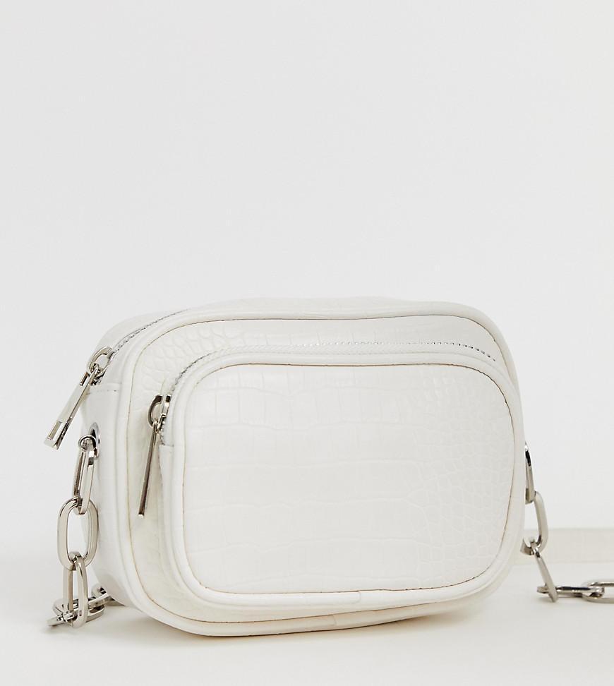 446505b3f9c55 Bershka Textured Cross Body Bag In White in White - Lyst