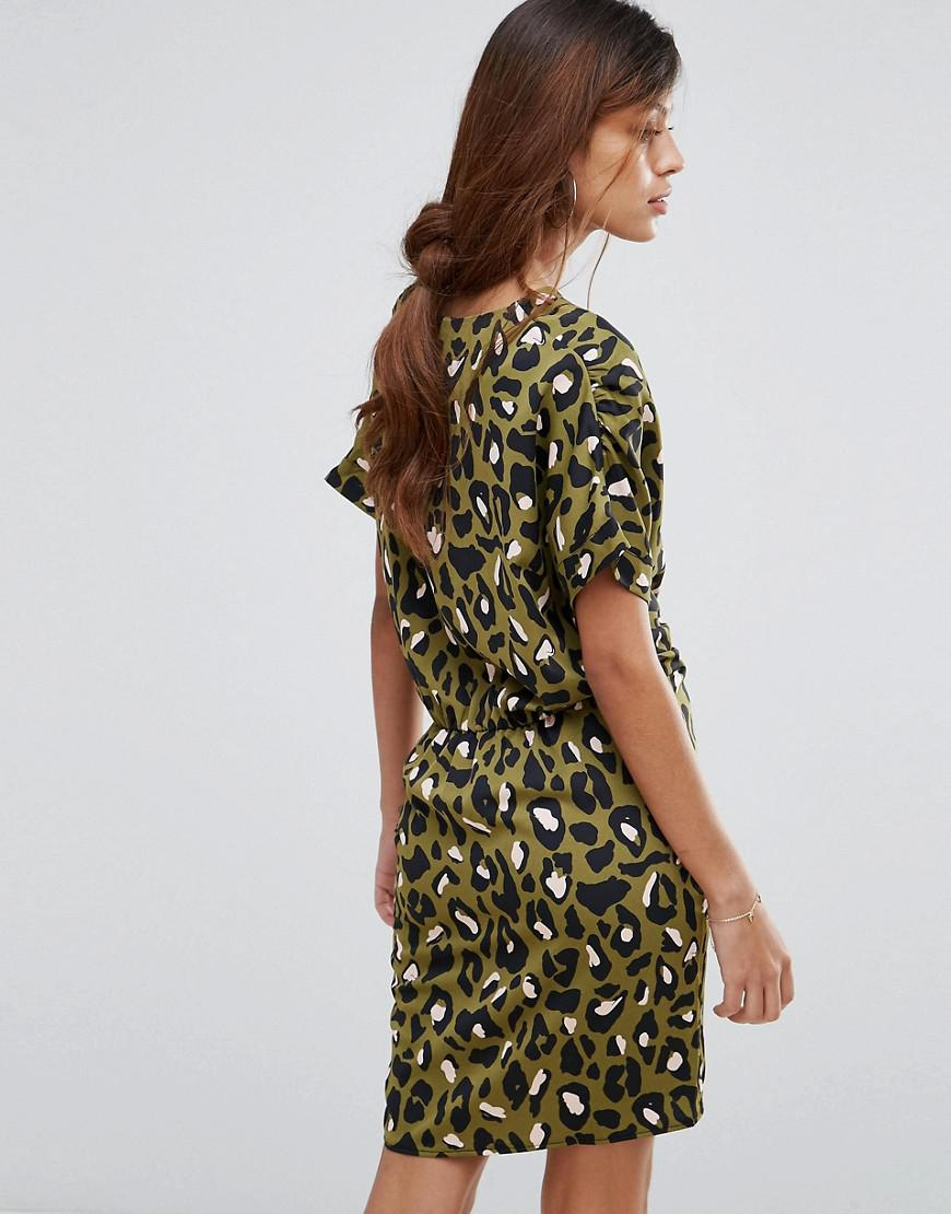 554abeb37465d Liquorish Twist Front Dress In Leopard in Green - Lyst