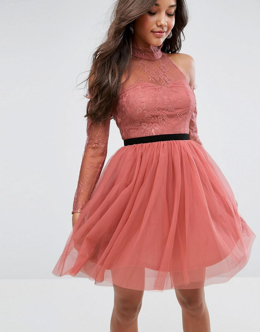 Lyst - Asos Premium Tulle Cold Shoulder Mini Prom Dress in Pink