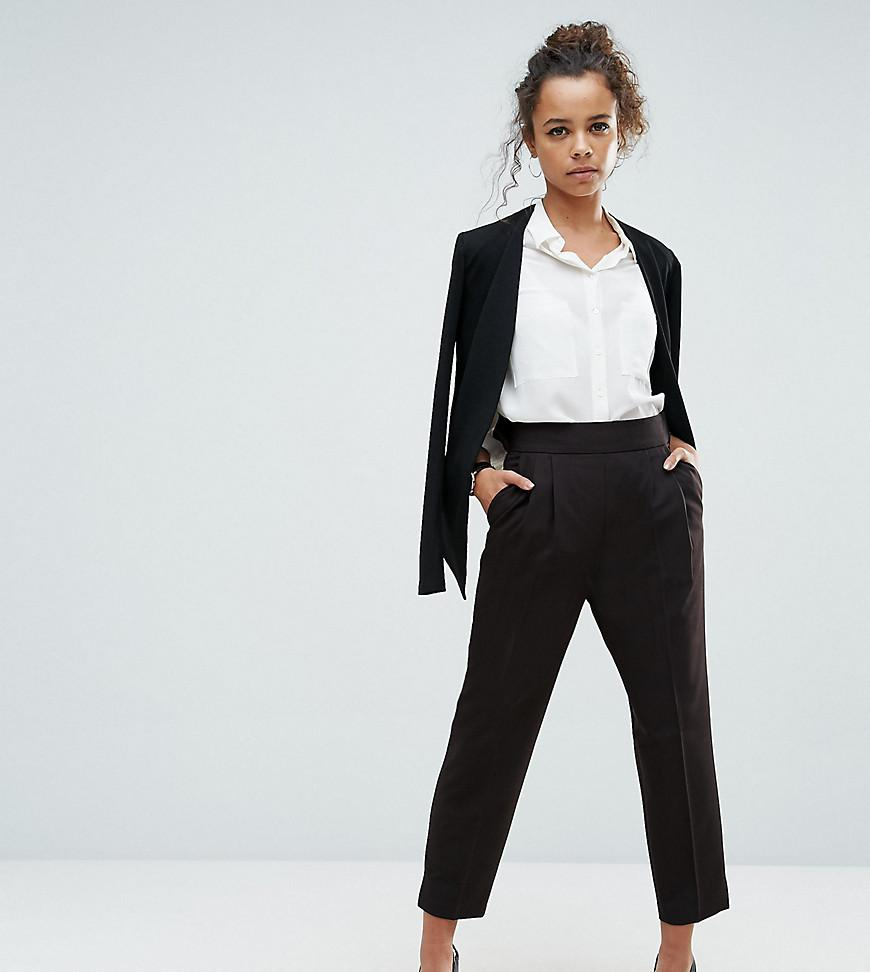 658067ac Lyst - ASOS Asos Design Petite High Waist Tapered Trousers in Black