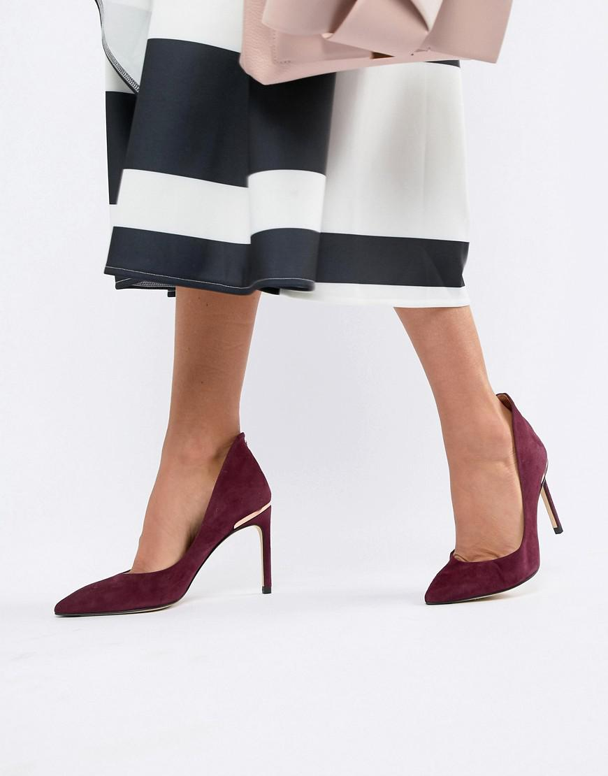 8dff37e7a Ted Baker Suede Heeled Pumps in Red - Lyst