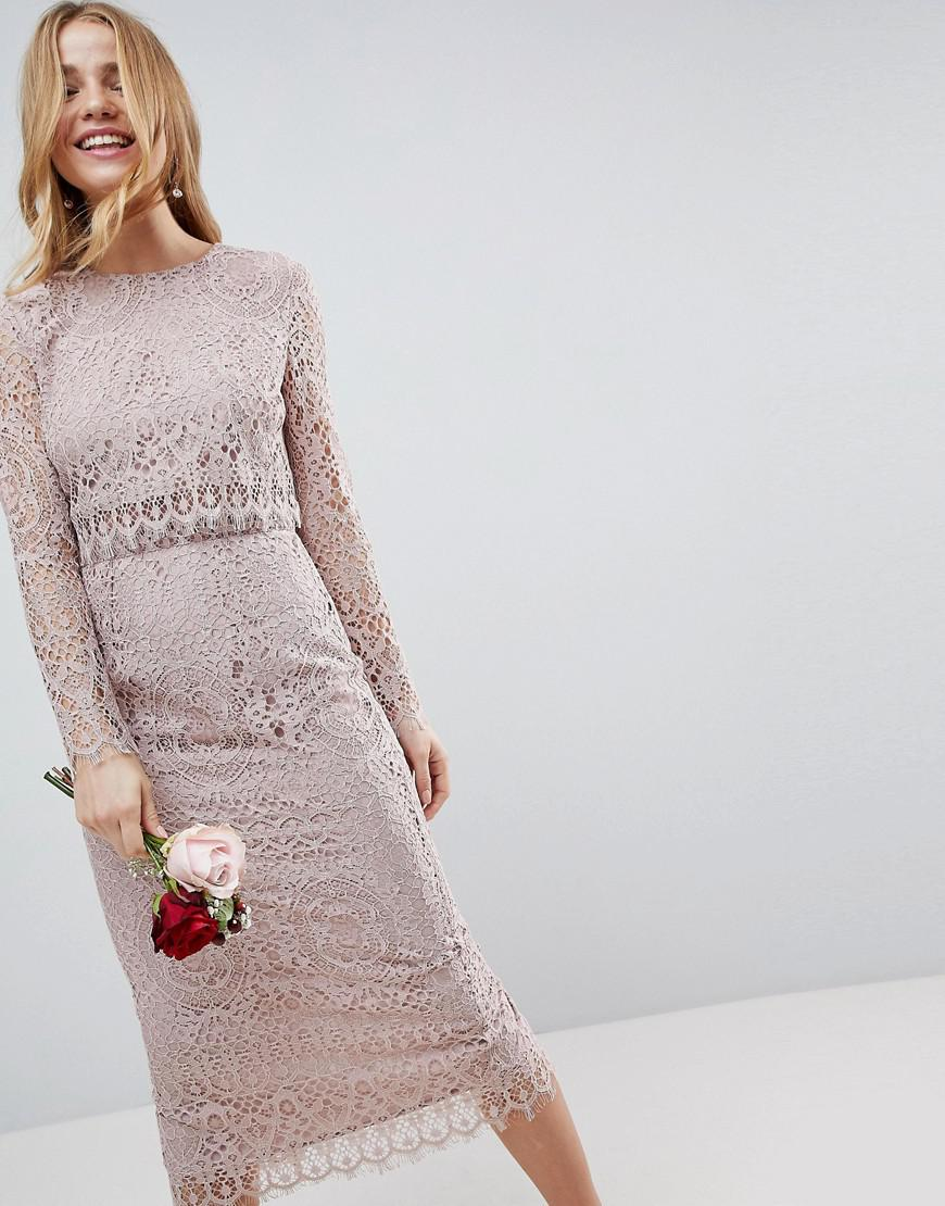 7cd55ecb Lyst - ASOS Lace Long Sleeve Midi Pencil Dress in Natural