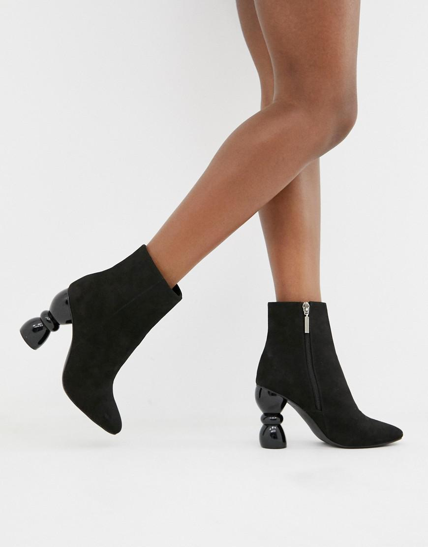 8a44c09231b Lyst - ASOS Edina Heeled Ankle Boots in Black