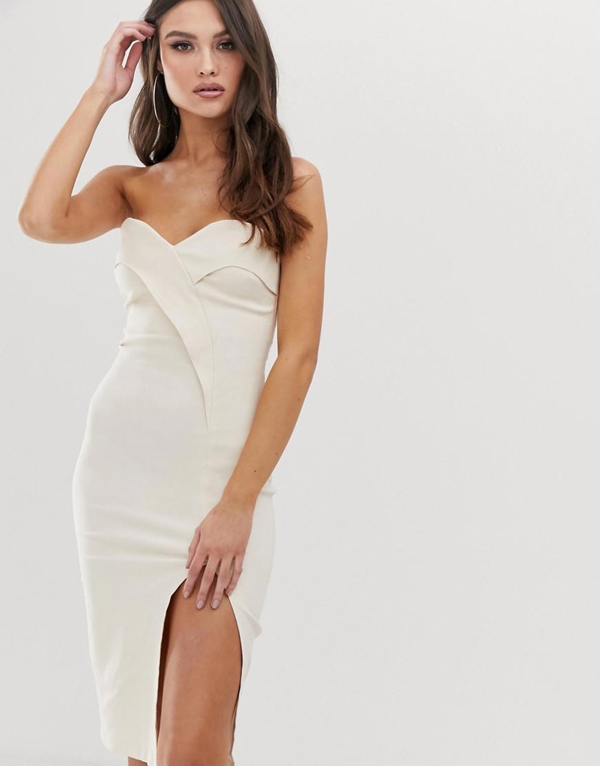 da895ef78b4 Vesper Bandeau Midi Dress With Thigh Split In Stone in Natural - Lyst