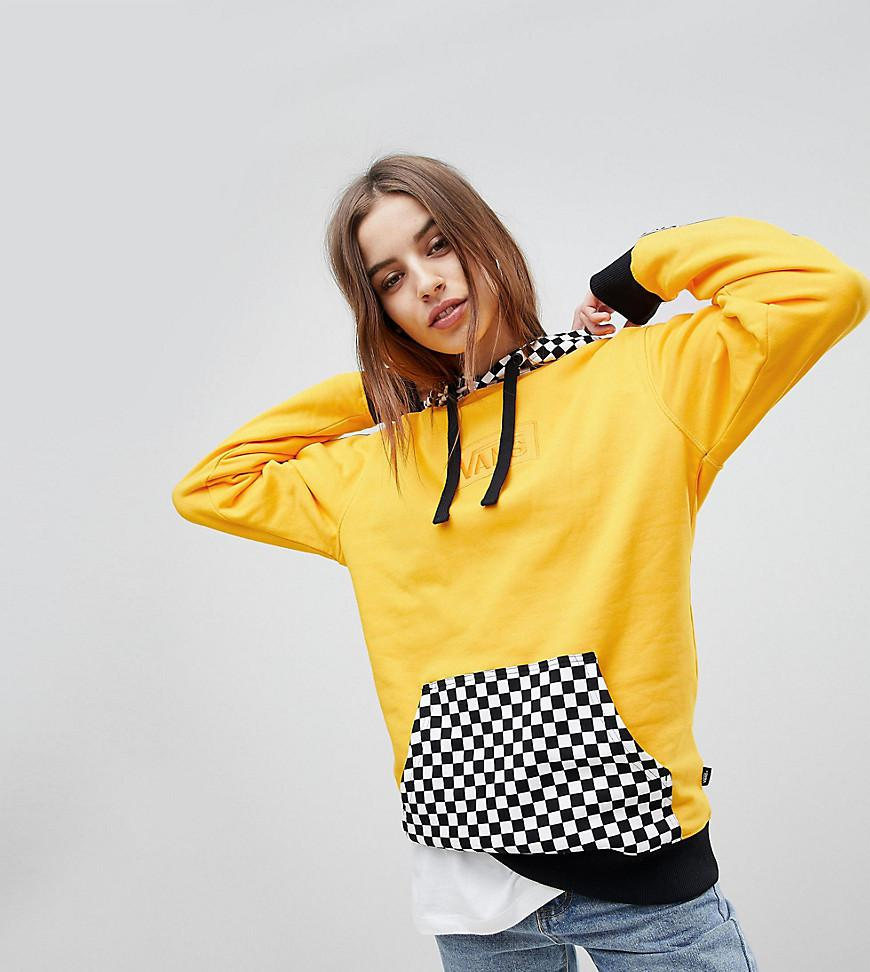 e19a604b077 Vans Exclusive Hoodie With Checker Board Hood in Yellow - Lyst