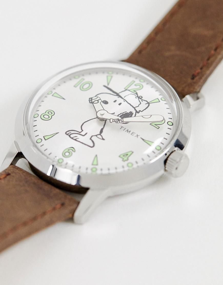 cf53fb117 Timex X Snoopy Welton 40mm Leather Watch In Brown in Brown for Men - Lyst