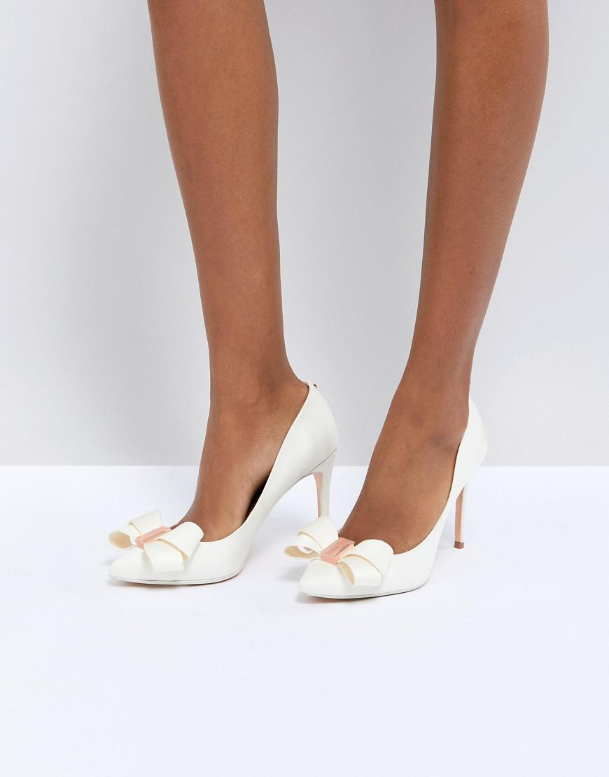 71602f34af Ted Baker Tie The Knot Skalett Heeled Shoes in White - Lyst