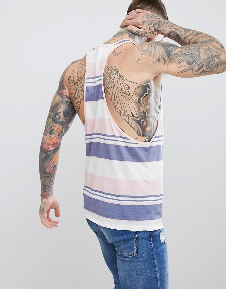 7ec25a416c26 Lyst - ASOS Extreme Racer Back Singlet With Retro Stripe in Pink for Men