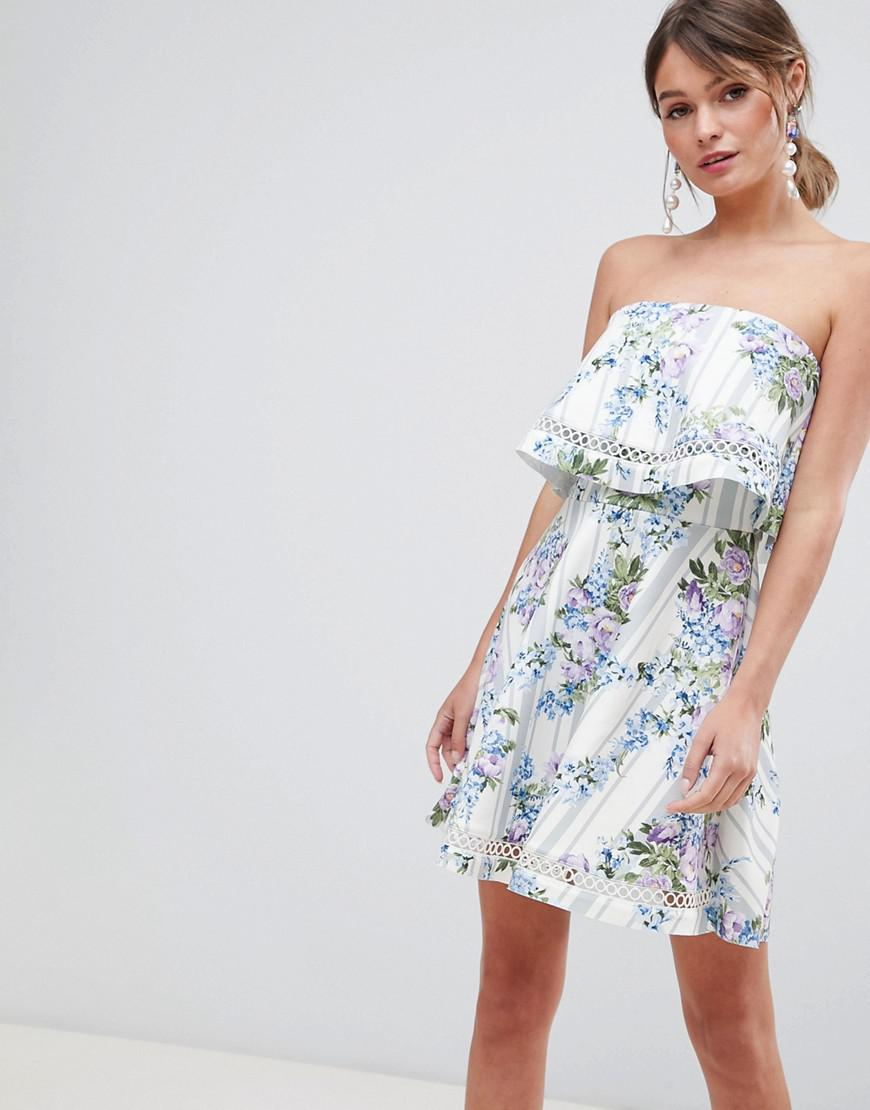DESIGN Floral Bandeau Ruffle Mini Dress With Crochet Trim - Multi Asos DqRxNlAG