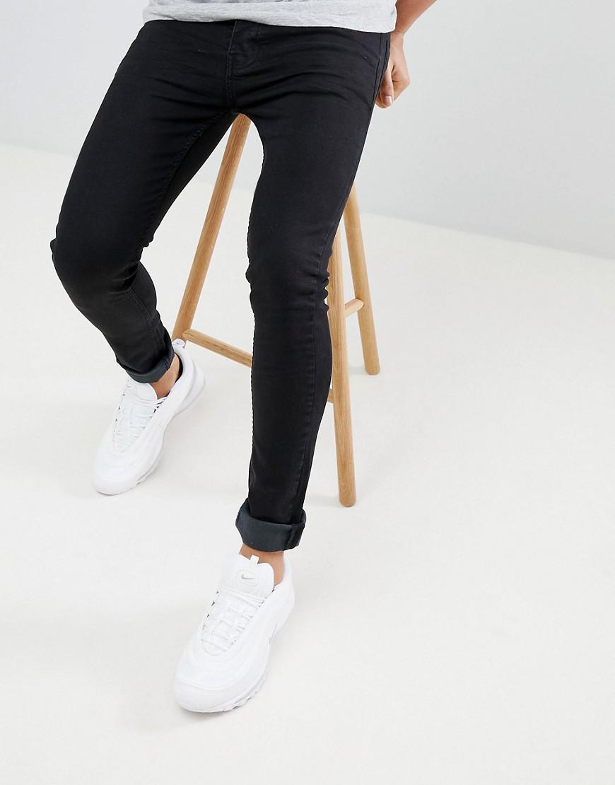 Super Skinny Fit Jeans in Black - Black Threadbare PauXv