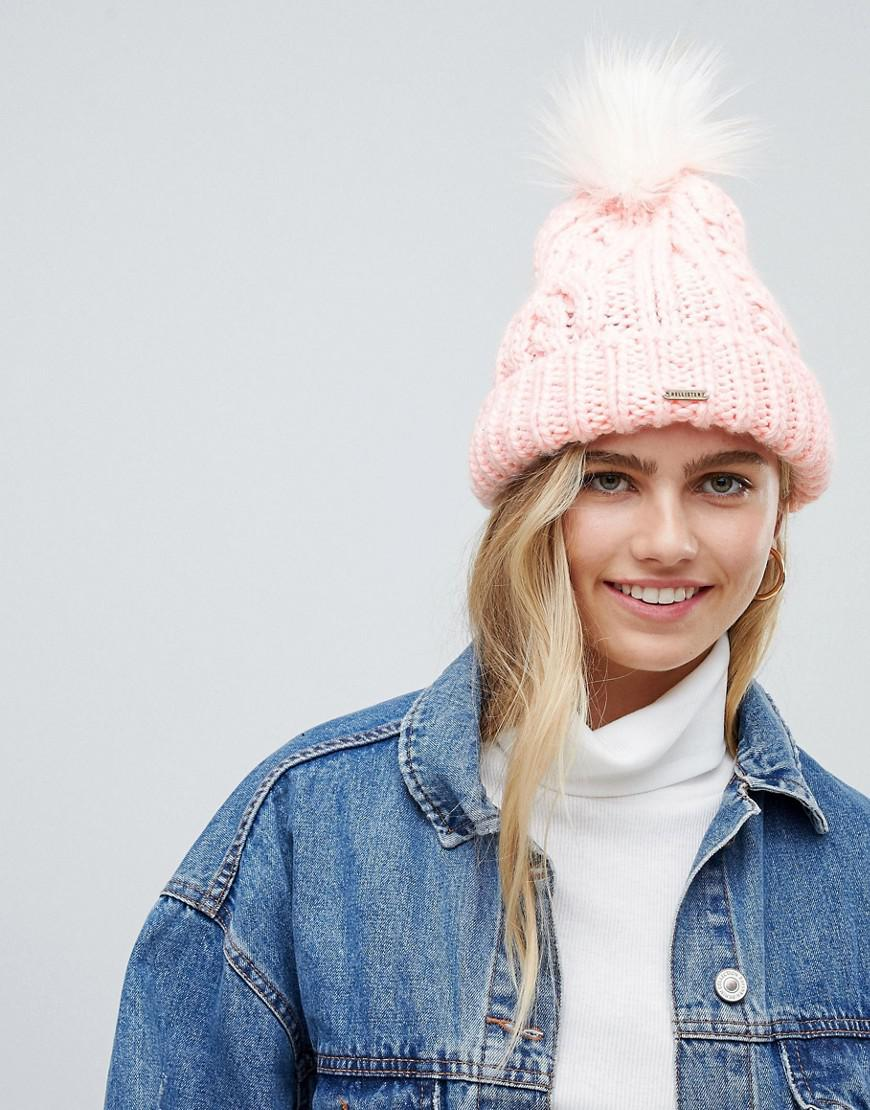 6f44c252178 Hollister Cable Knit Beanie With Pom Pom in Pink - Lyst