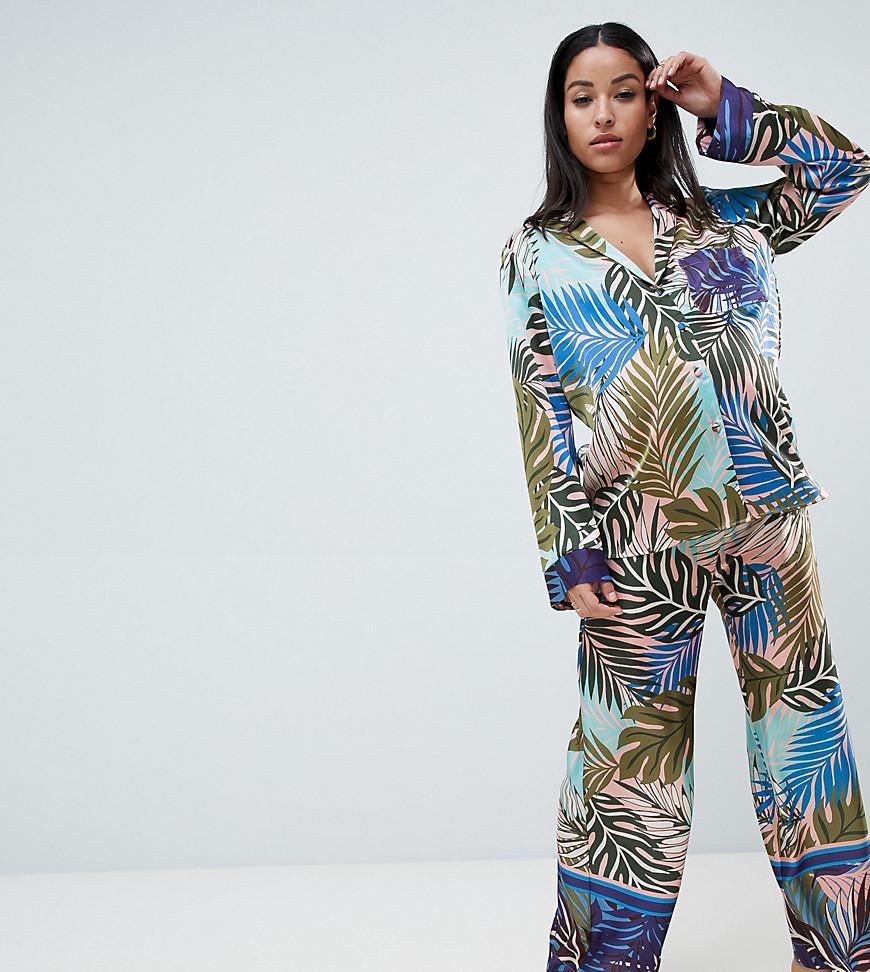 cf75a4aa83 ASOS. Women s Blue Asos Design Maternity Tropical Border Print Satin Pyjama  Set
