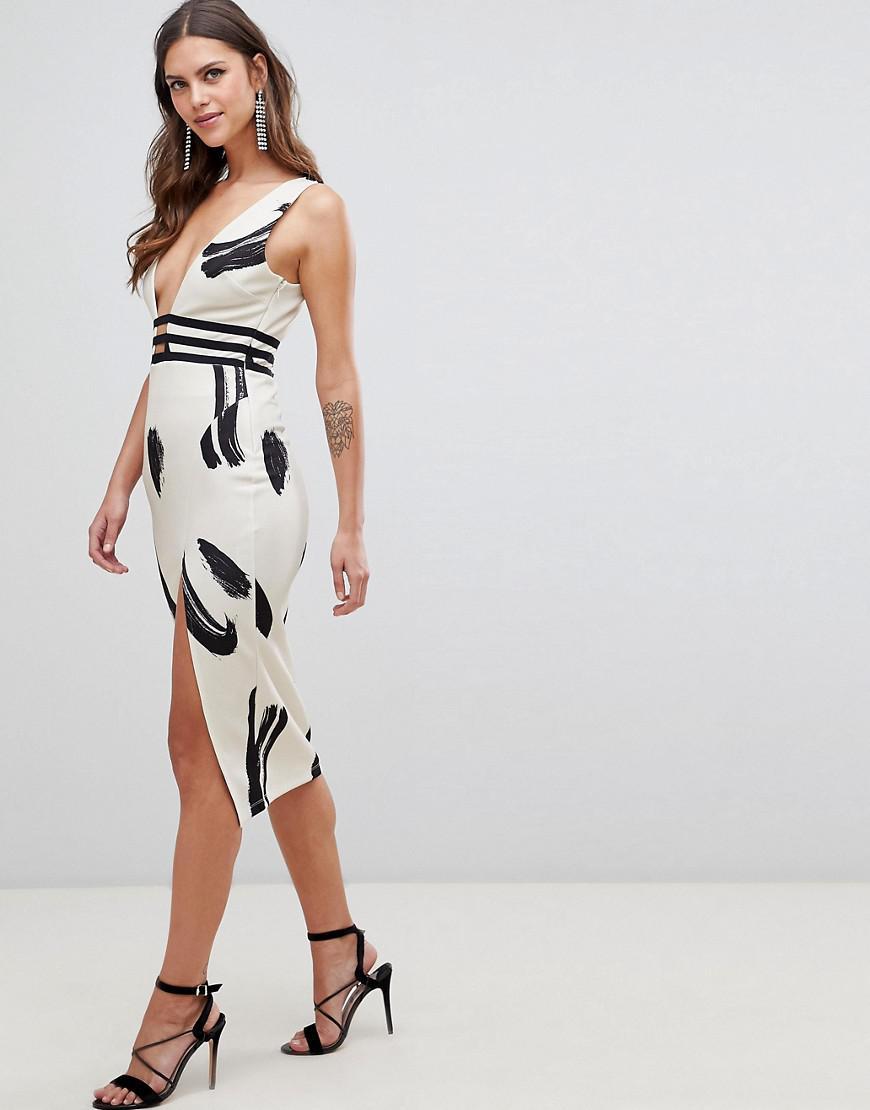 064b790da9 ASOS. Women s Smudge Print Plunge Bodycon Midi Dress
